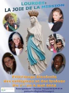 affiche du pèlerinage des jeunes à Lourdes 2015