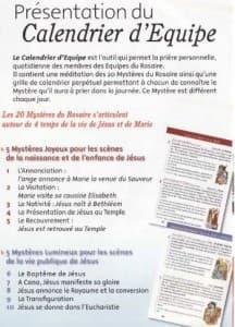 presentation du Calendrier d'Equipe