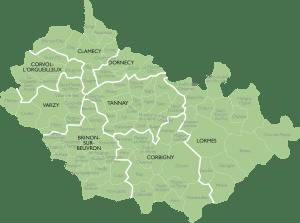 Carte du groupement de paroisses des Vaux d'Yonne