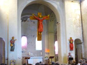 Présentation de la sculpture du Christ en croix par Mr Jourdier